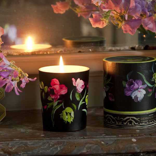 candles holders with floral designs