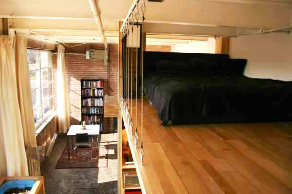 Small Loft With Bed And Simple Storage Ideas