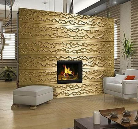 Ordinaire Textured Wall Panels In Golden Color, Modern Living Room Design