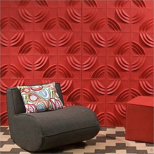 Red Wall Panels For Living Room Design