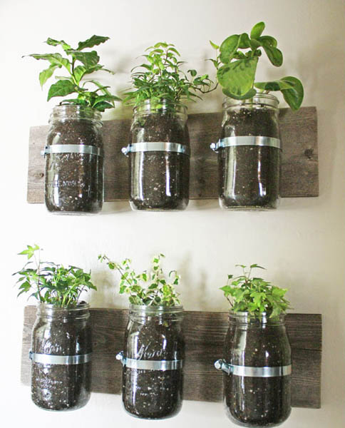 wall garden design to recycle glass jars
