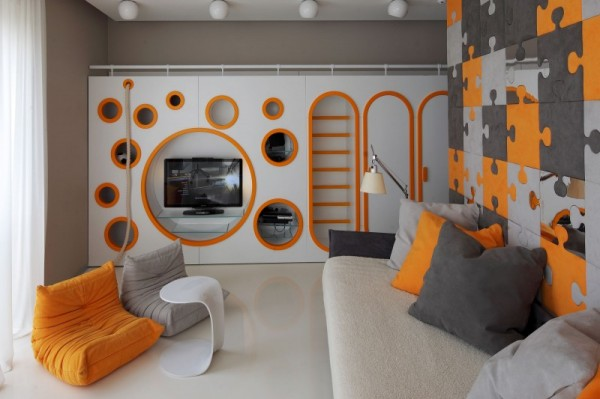 boys bedroom decorating with orange color