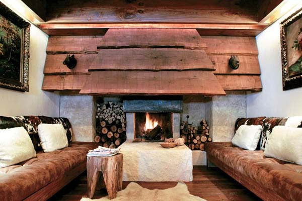 fireplace design with wooden hood