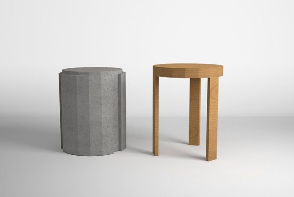 coffee table and stool made of cement and wood