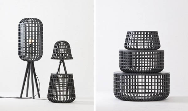 modern lighting fixtures and storage baskets