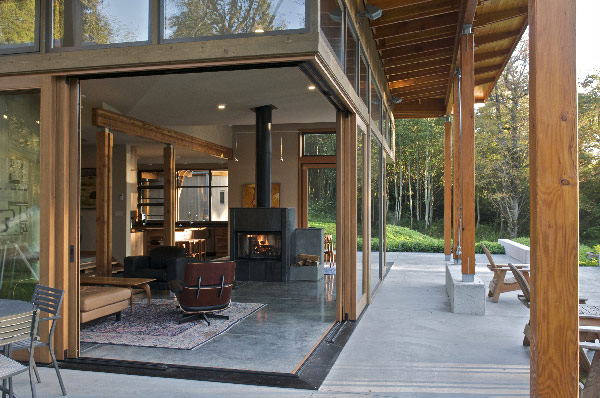 sliding glass doors and large windows