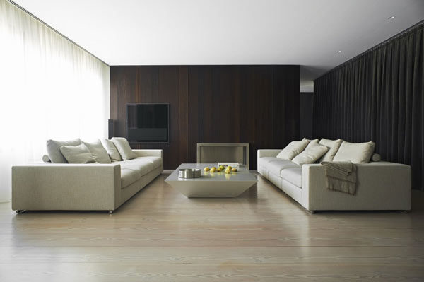 living room design in minimalist style