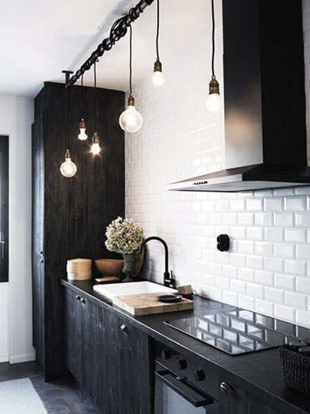 Black And White Decorating Ideas Contemporary Lighting With Exposed Bulbs Kitchen Cabinets Modern Design In Scandinavian Style