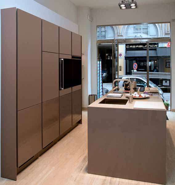 contemporary kitchen cabinets in brown color
