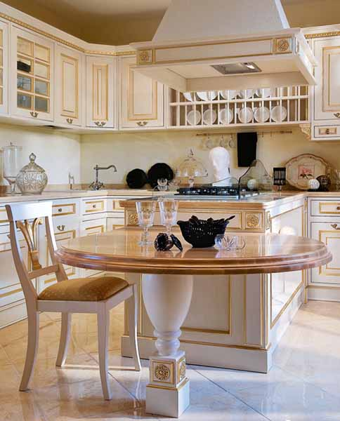 classic kitchen design made of wood with dining peninsula