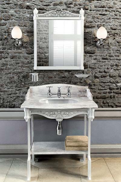 bathroom sink and wall lights in art deco style