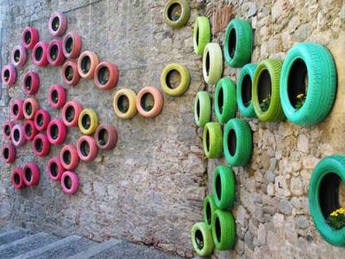wall decorating with painted used tires
