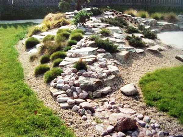 Rocks Garden With Green Plants Beautiful Backyard Design