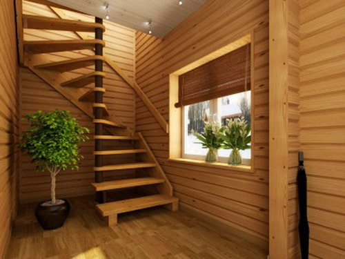 wooden spiral stair with wooden rail