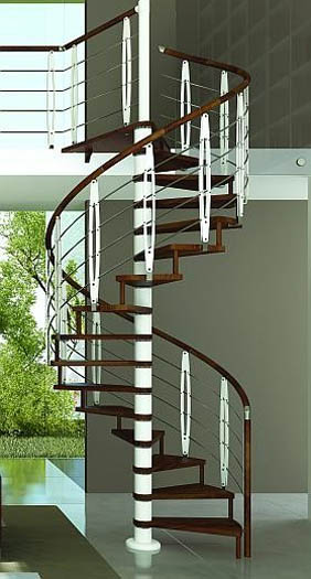Wooden Spiral Staircase With Metal Parts, Contemporary Interior Design