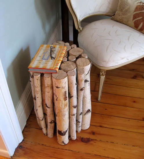 Small Table Made Of Birch Tree Logs Diy Handmade Furniture For Creative And Home Decorating In Eco Style