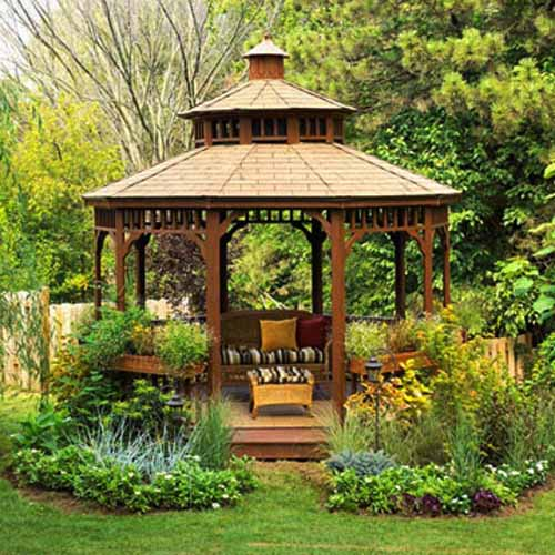 Round And Hexagonal Wooden Gazebo Designs Beautiful Backyard Ideas