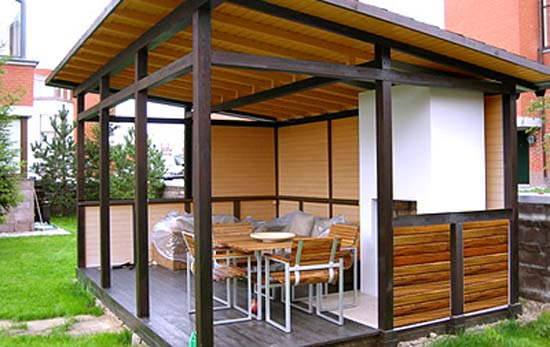 contemporary wood gazebo with outdoor furniture