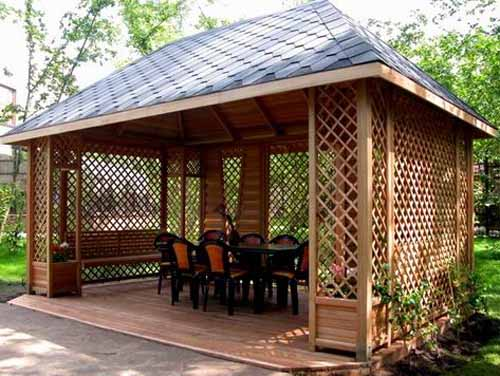 Contemporary Wood Gazebo Design With Outdoor Furniture