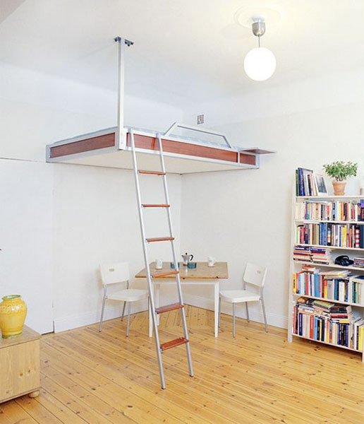 Hanging under the ceiling loft bed Scandinavian design ideas for small rooms & 21 Loft Beds in Different Styles Space Saving Ideas for Small Rooms