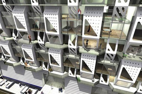 Futuristic Energy Efficient Apartment Building Design
