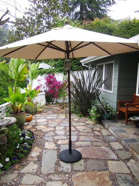 patio stones and umbrella