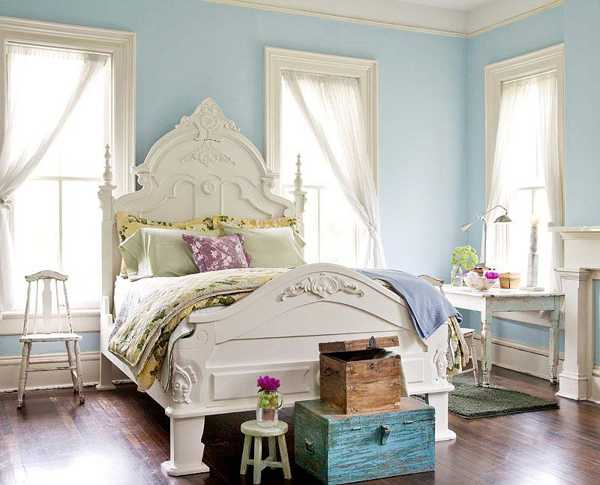 White And Blue Bedroom Colors Furniture Light Interior Paint Chest