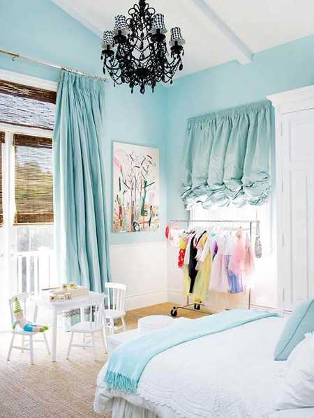 Child Bedroom Decorating In White And Blue Colors Light Interior Paint Curtains Bedding Set