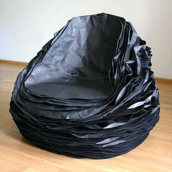 black chair made with paper and cardboard