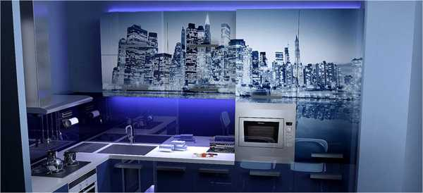 blue kitchen backsplash design