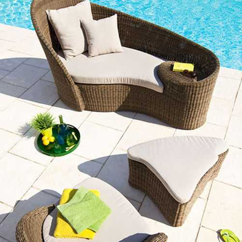wicker daybed and footrest for swimming pool patio