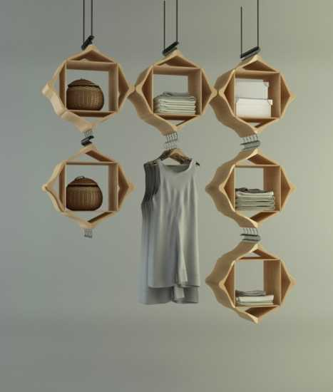 hanging cabinet made with wooden hangers
