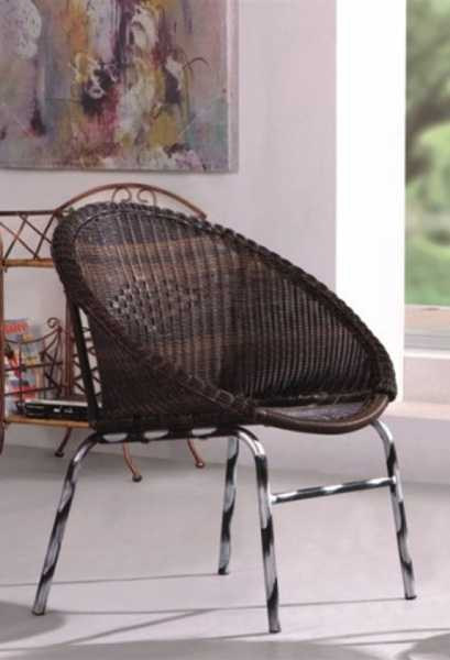 wicker chair with metal legs