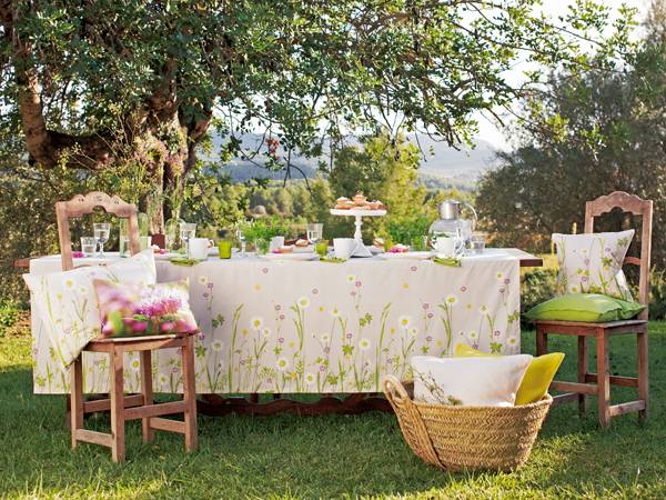 dining table with floral tablecloth