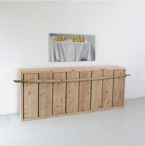 storage furniture made of salvaged wood pieces