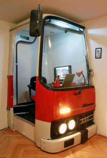 Small Home Office Created With A Room Divider Made Of Old Bus Front