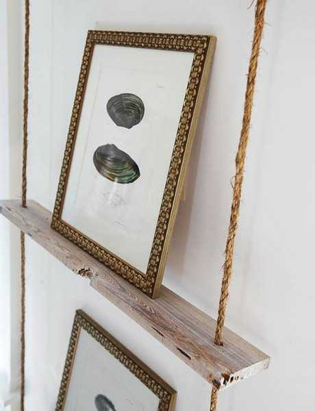 shelf made with wood and rope