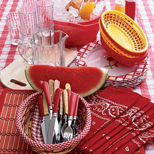 watermelon and red tableware