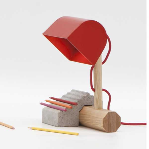 led desk lamp with red lamp shade