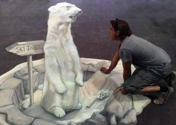 white bear painting on floor