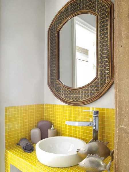 Yellow Mosaic Tiles For Small Bathroom Design, Beautiful Wall Mirror On  White Wall And Small Bathroom Sink For Space Saving