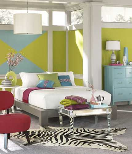 lime green blue bedroom colors and cranberry red accents