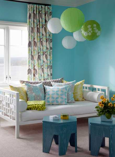 Blue And Gray Living Room Decor: Light Blue And Green Colors Soothing Modern Interior