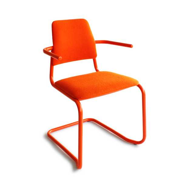 orange chair with metal frame