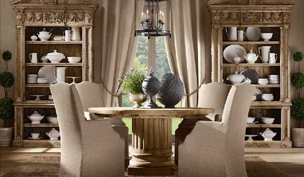 Carved Wood Cabinets With China Collections Round Table And Upholstered Chairs Modern Dining Room Decorating Ideas In Vintage Style