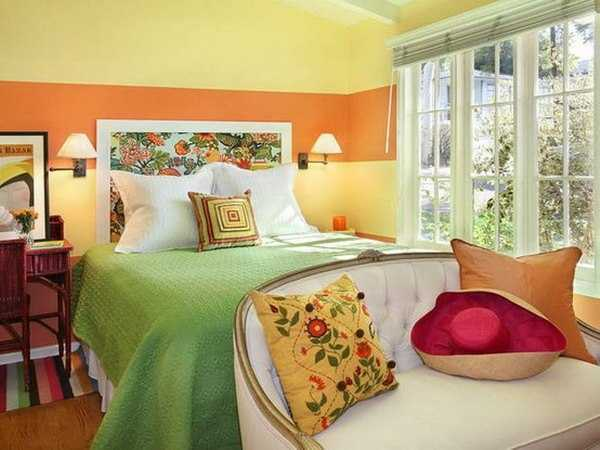 orange interior paint and green blanket