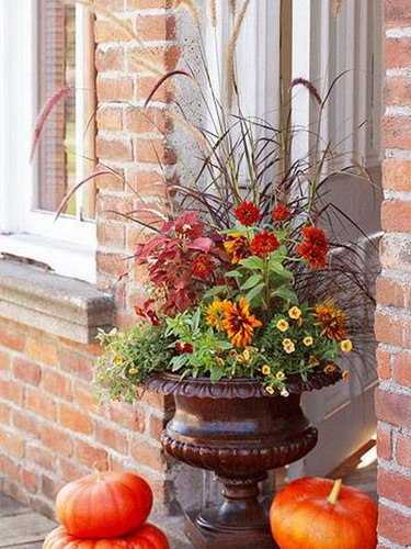 Gorgeous House Exterior And Front Door Decorating With Fall Flowers