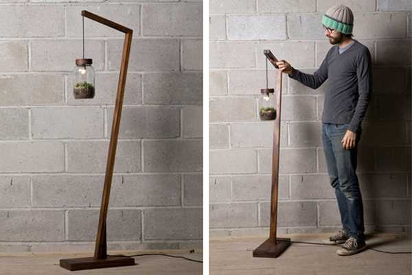 Contemporary Floor Lamp With Wood Base And Gl Plant Terrarium