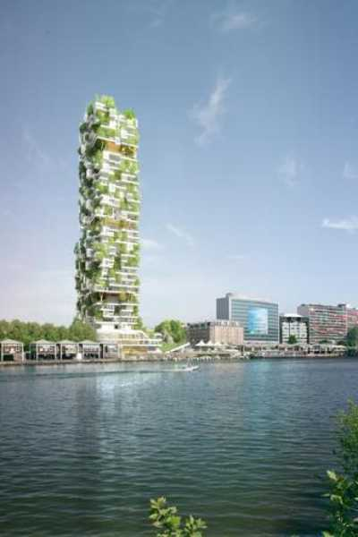 residential tower with small gardens in spring