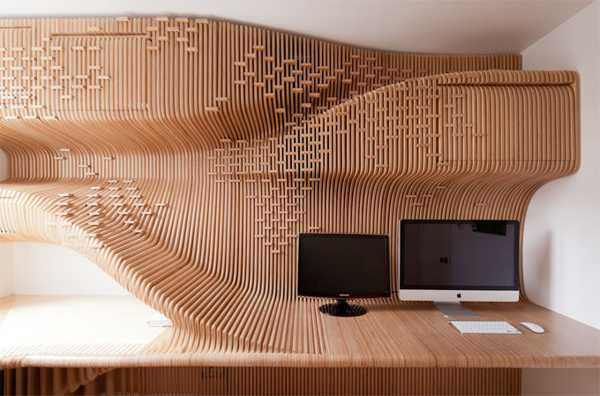 Plywood Wall Storage Unit In World Map Pattern